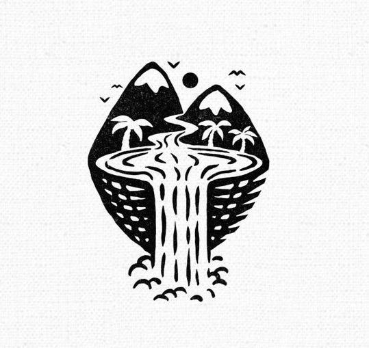 由热带岛屿和瀑布组成的旅游标志设计
