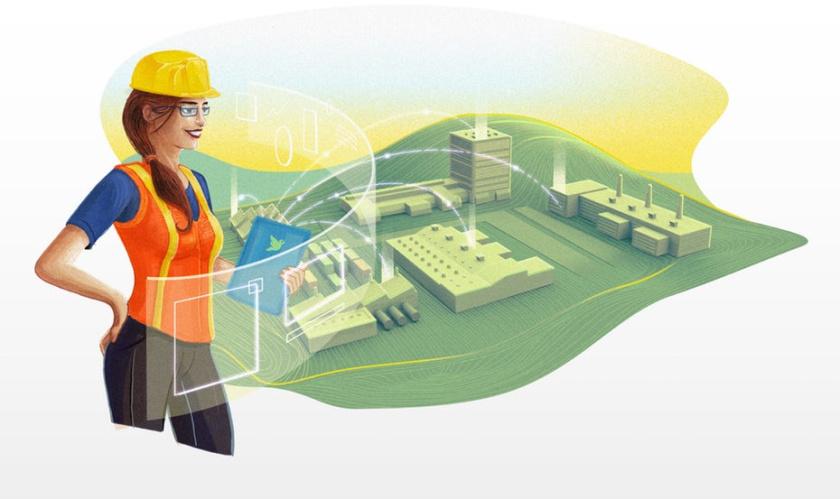 一名工厂劳工的例证安全帽的logo设计始于战略。一个好的标志提供了该策略。