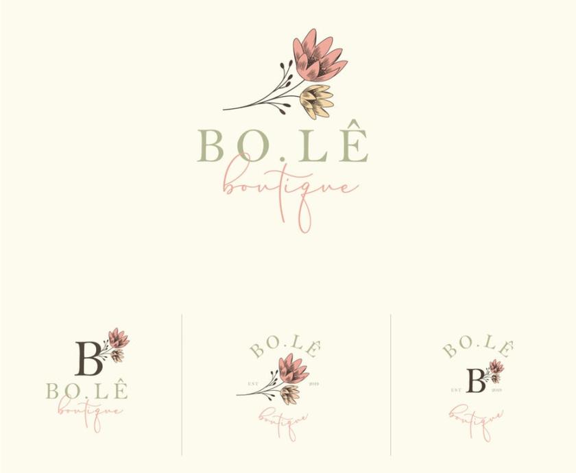 手绘花卉标志logo设计
