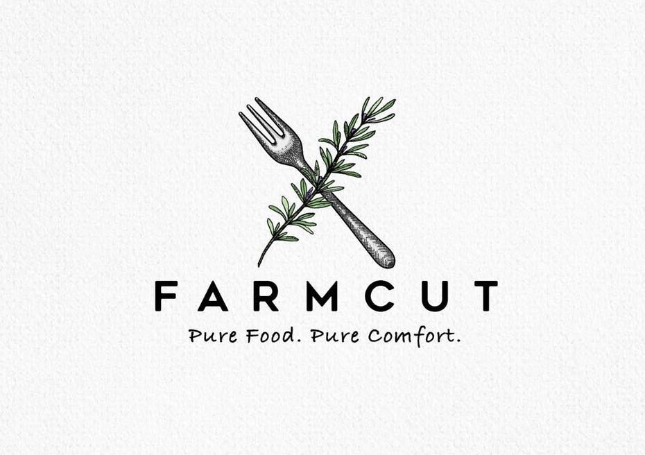 Farmcut的徽标和标语设计