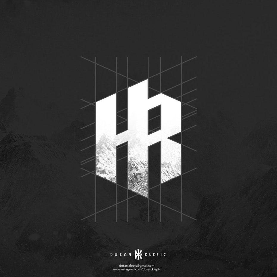 几何黑白logo设计-Heidler Raabe标志logo