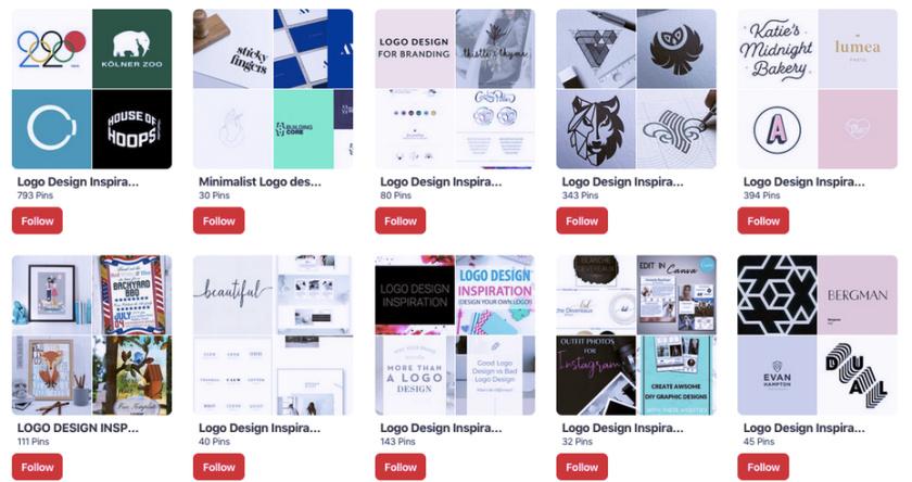 Pinterest标志灵感板