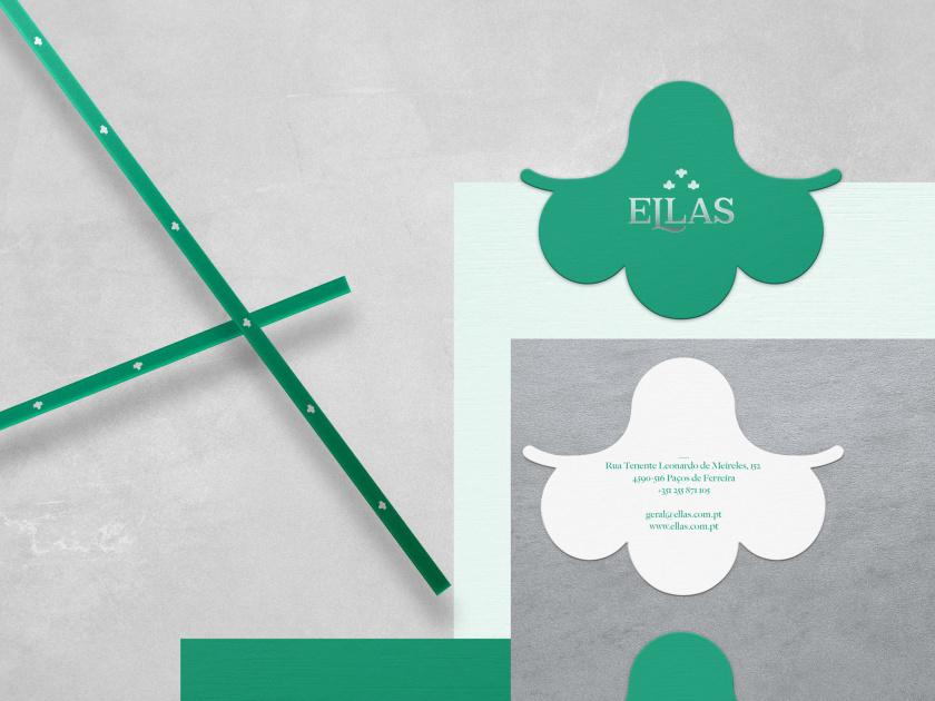 ELLAS珠宝品牌logo设计与品牌vi形象设计,三个花朵徽章