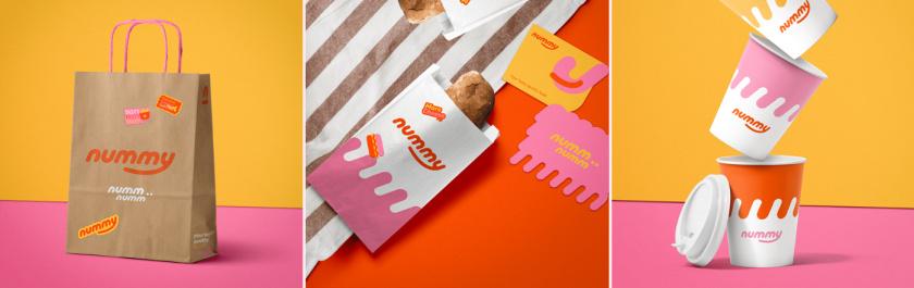 Nummy云端厨房外卖美食品牌logo设计与形象vi设计,源自字母n的识别符号