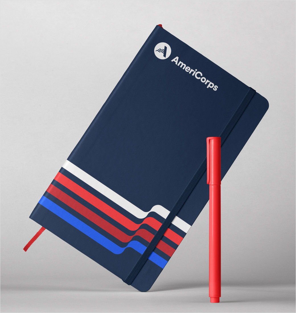 AmeriCorps 美国国家社区服务公司品牌logo设计与vi设计,字母A+美国国旗