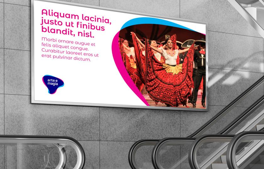 Arte e Magia儿童青少年舞蹈教育机构品牌vi视觉形象设计,弯曲渐变色块的叠加