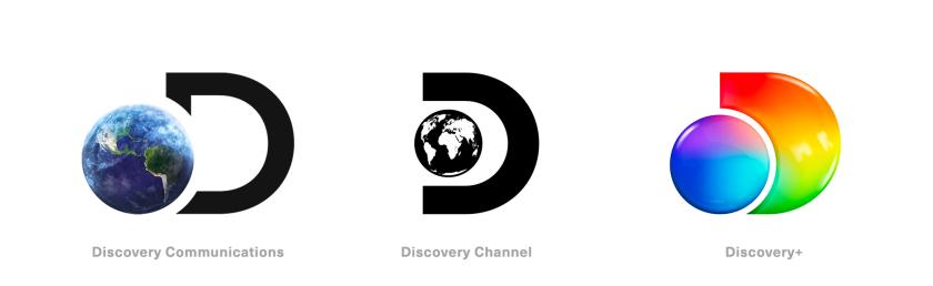 Discovery+探索电视节目频道品牌logo设计,光谱色几何D和一个圆的结合