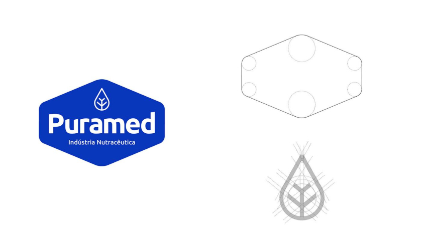 Puramed食品营养补充剂制造企业公司logo设计vi设计,相互嵌套六边形辅助图形设计