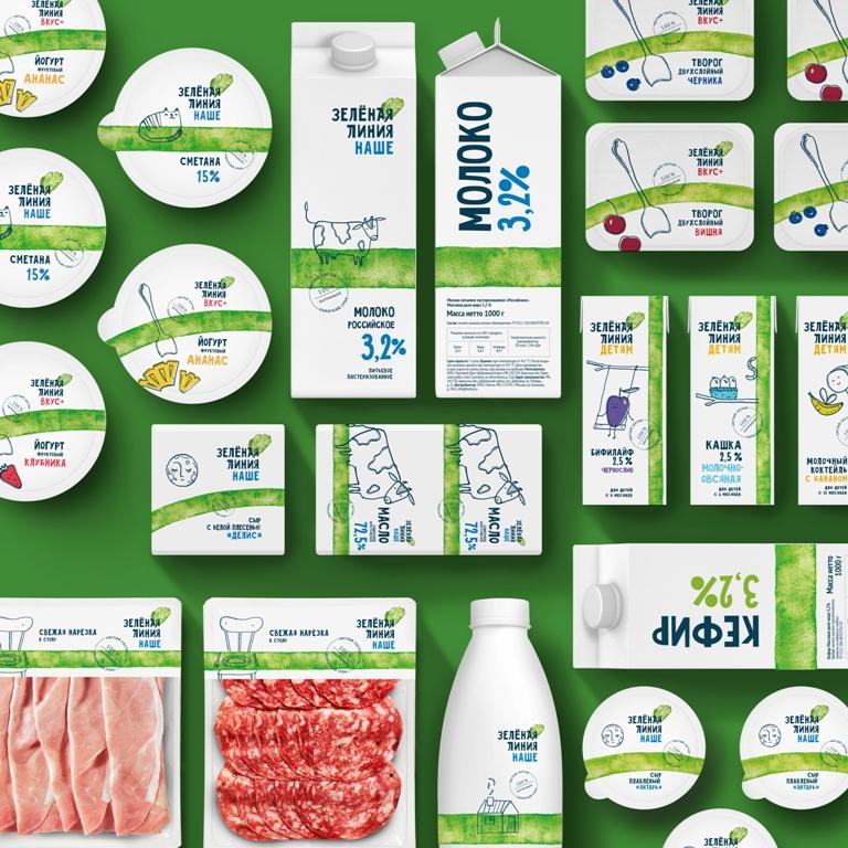 绿线食品乳制品鲜肉产品fun88体育备用包装fun88乐天使备用,手绘绿线超级视觉符号