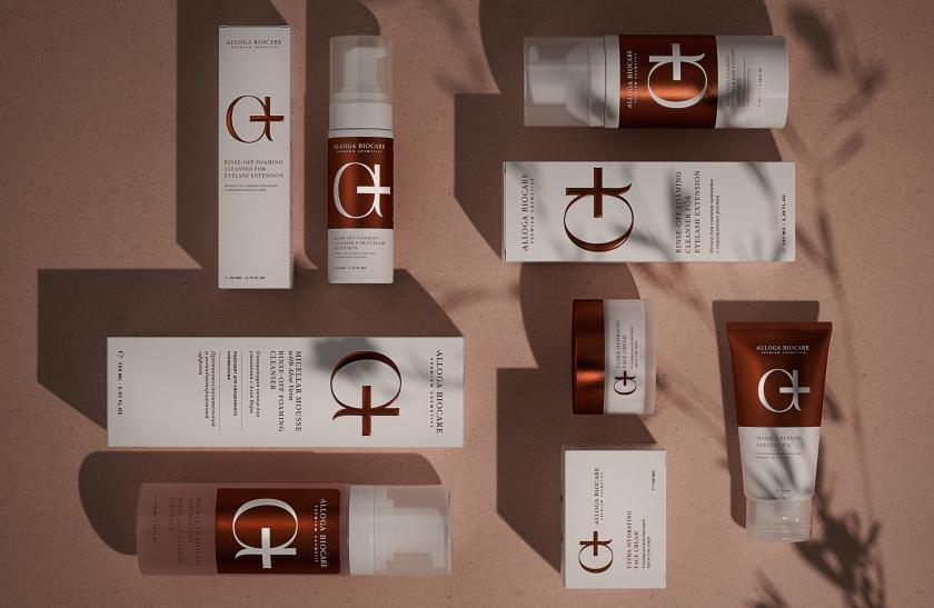"Alloga Biocare 高端化妆品包装fun88乐天使备用,古铜色"" a+""连字形成医学和美学关系的符号"