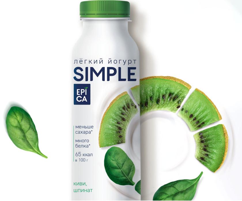 Epica Simple 低糖酸奶包装设计,酸奶添加的谷物及水果颗粒,组成O字符号