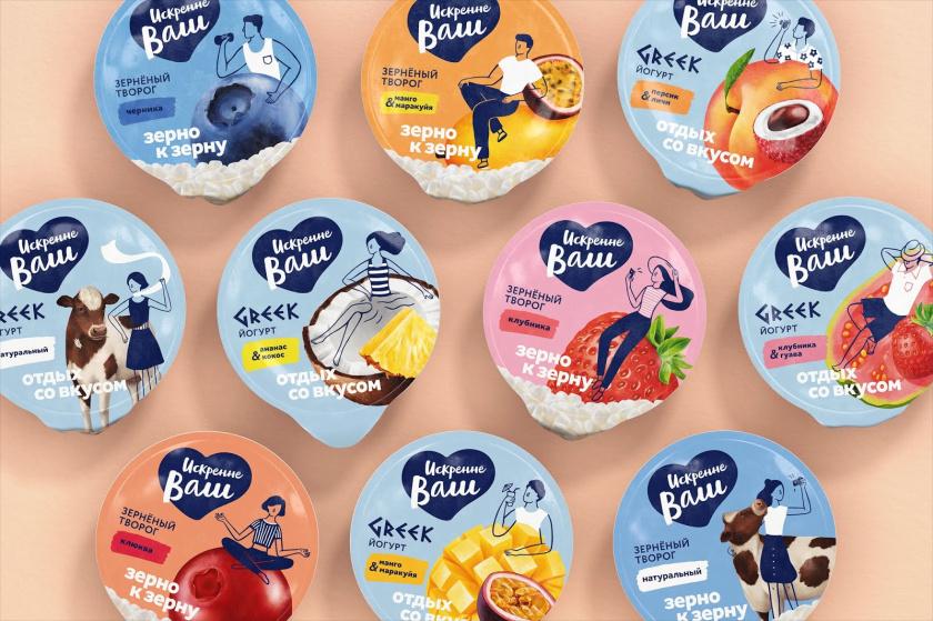 Truly Yours 酸奶包装设计,人物与水果虚实结合的插画设计手法