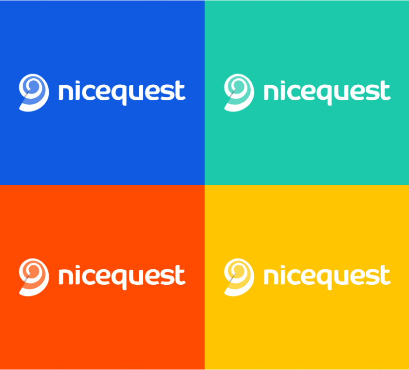 Nicequest 在线社区网站互联网科技公司logo设计,螺旋田螺+热点图