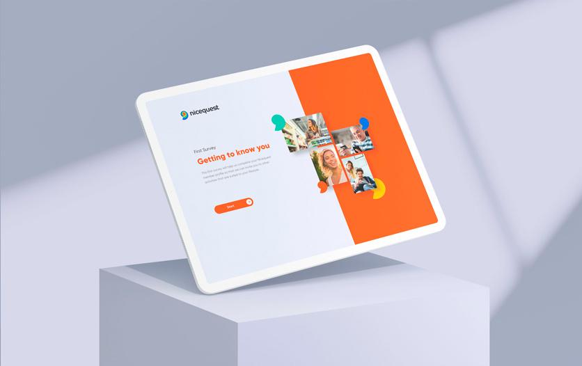 Nicequest 在线社区互联网科技公司logo设计,螺旋田螺+热点图