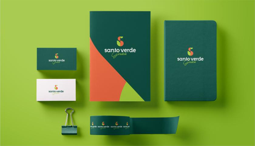 圣维德园艺鲜花绿植花园品牌形象vi视觉识别设计,多彩几何图形风格