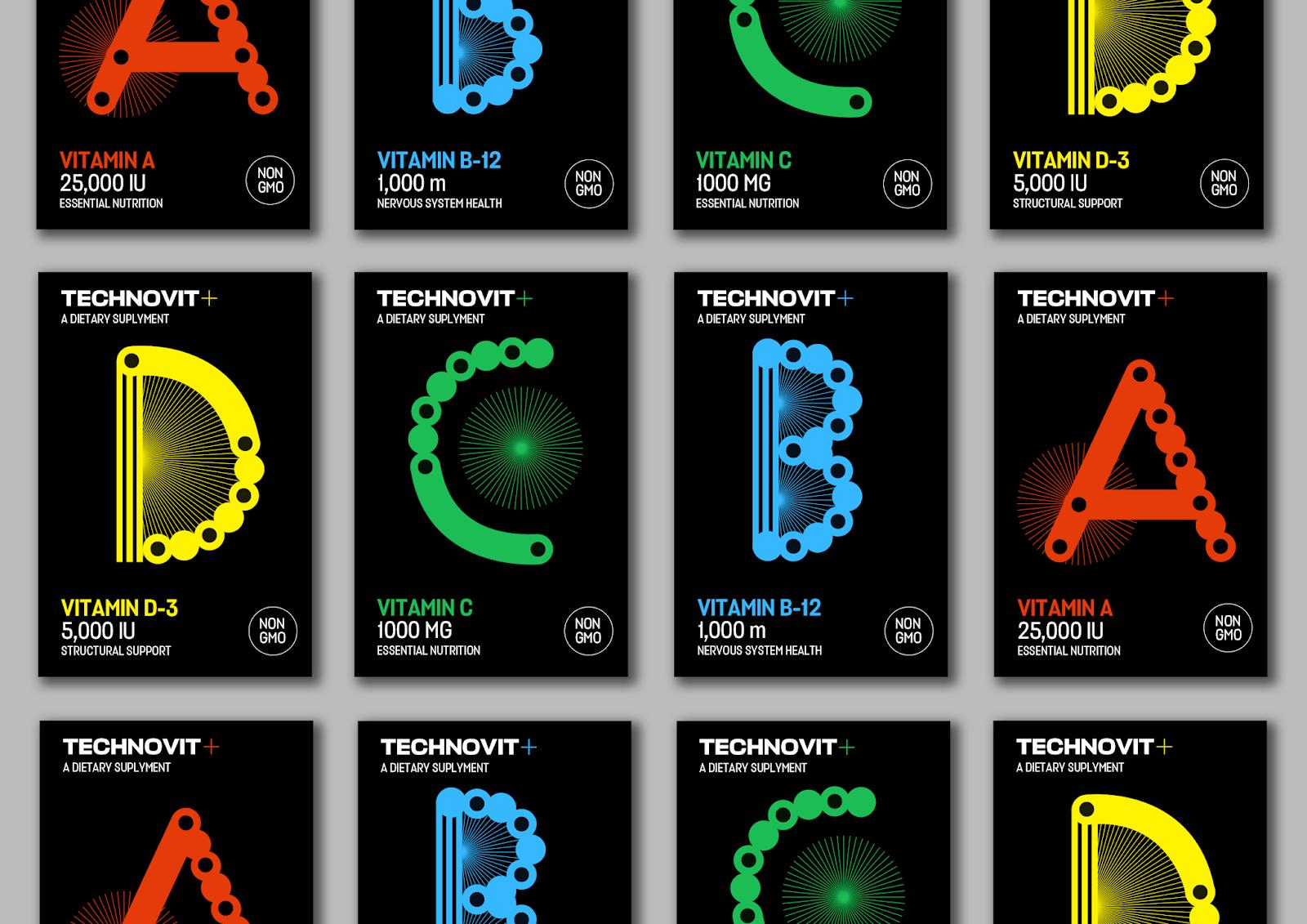 "TECHNDVIT维生素包装设计""字母风格"",源自电子音乐的的明亮全息图像和配色"