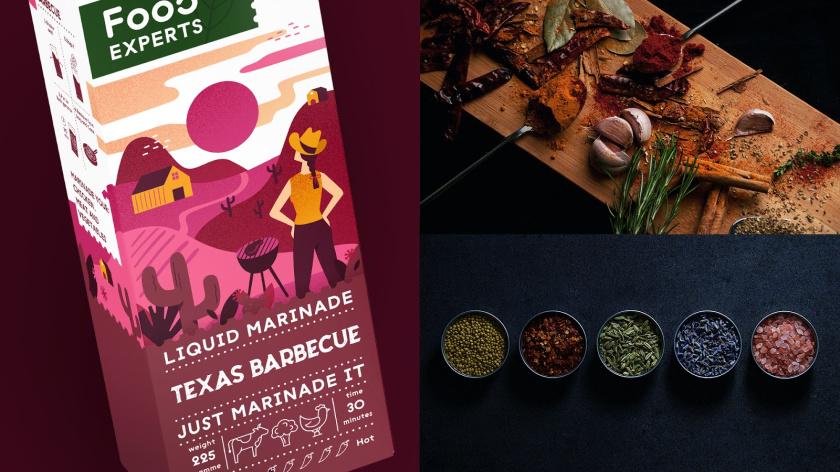 液体腌料调味品食品包装设计,色彩鲜艳的女孩户外烧烤插画设计
