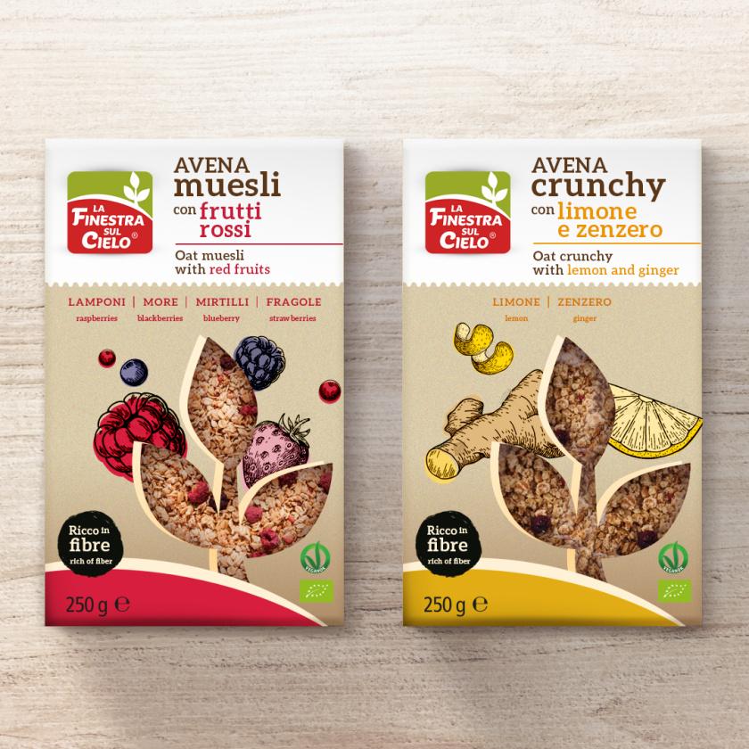 嘎吱嘎吱品牌识别风格松脆麦片食品包装设计,开窗源自品牌logo图形