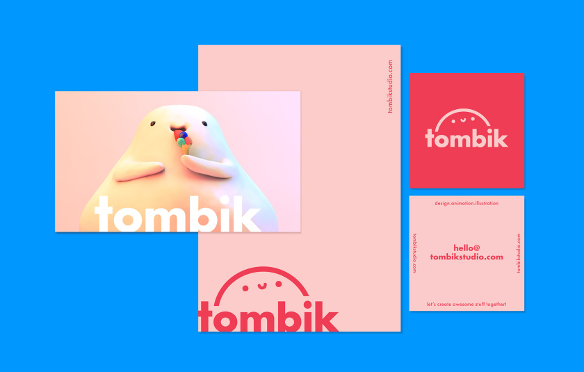 Tombik Studio创意工作室/自我品牌形象设计logo设计,卡通人偶面部形象