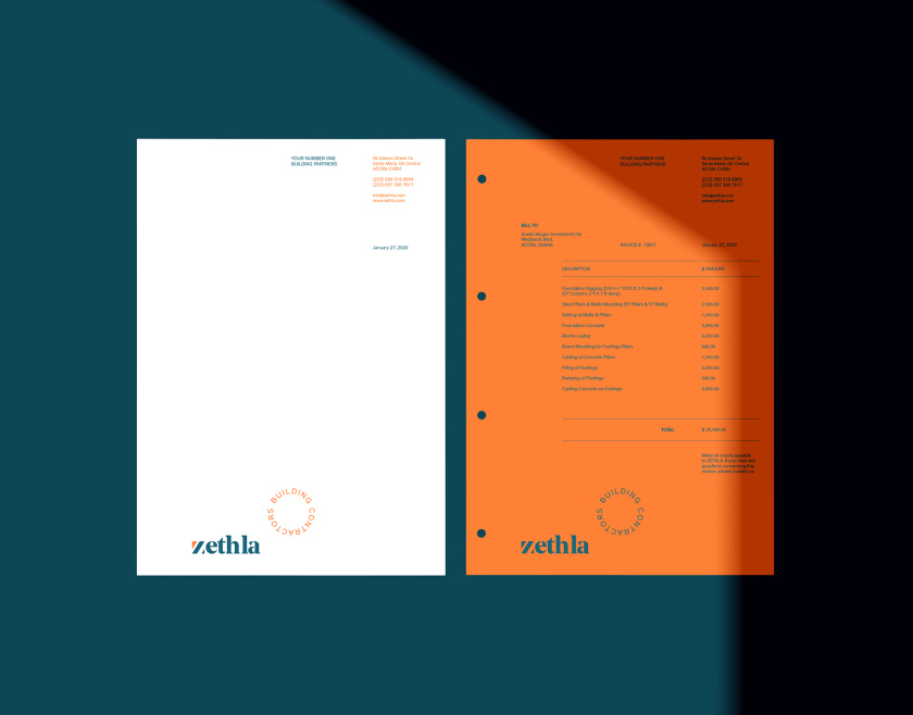 Zethla 建筑公司logo设计vi设计,正方形被斜切出字母Z+蓝橙工业配色