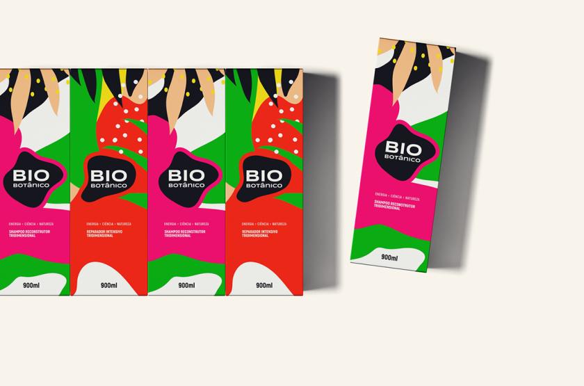 Bio Botânico 专业护发产品包装设计,鲜艳热带风格元素