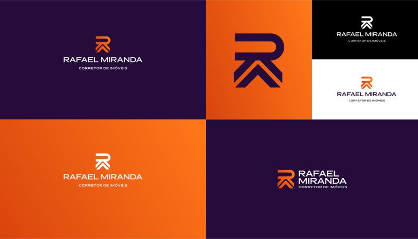 Rafael Miranda 房地产经纪公司logo设计vi设计,字母R+房子组成