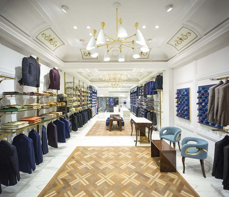 The Good Suit Co 男士服饰店铺空间设计,奢华与温馨的新蓝色古典主义