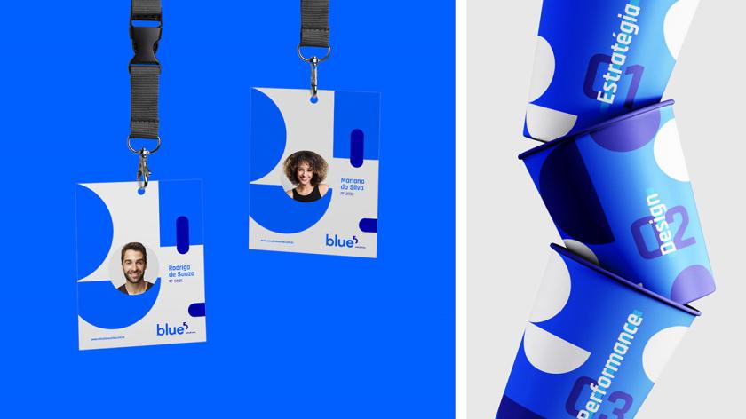 Blue 5 Solutions 科技公司企业品牌形象vi设计,,几何同色系蓝色色块辅助图形