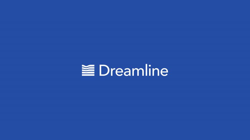Dreamline 睡眠产品床垫寝具品牌logo设计,床垫多层结构承受人体压力的图形