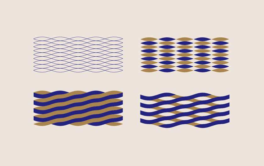 RONDIBLU 床垫睡眠产品品牌形象vi设计-四种交织波浪曲线辅助图形设计: