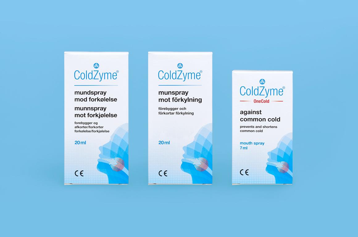 Coldzyme预防感冒病菌口腔喷雾剂包装设计,色块面部+箭头喉咙发炎图形