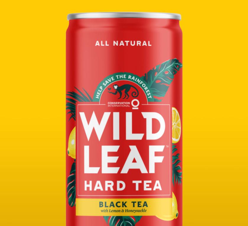 Wild Leaf 野叶硬茶水果混合茶饮饮料易拉罐包装设计,红色热带雨林插画风格