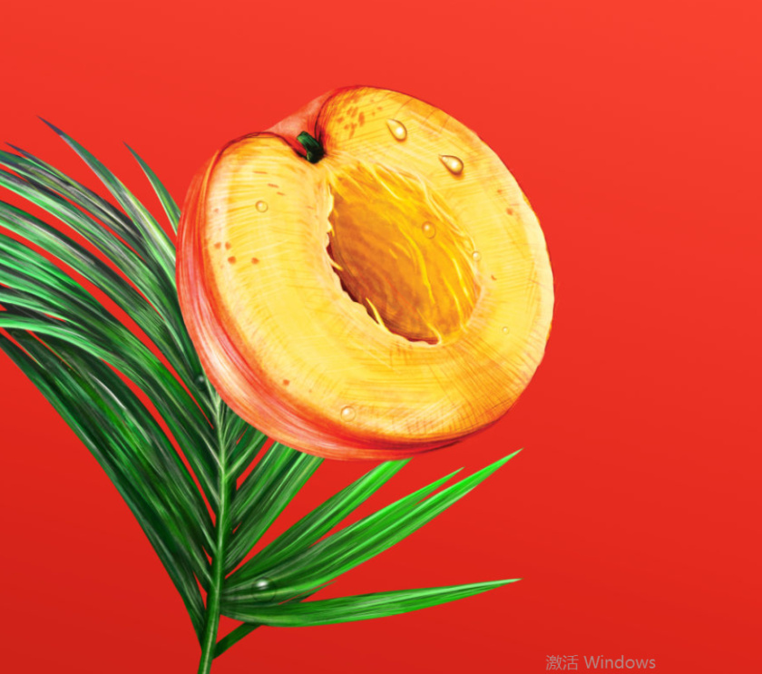 Wild Leaf 野叶硬茶水果混合茶饮饮料易拉罐包装设计,红色热带雨林插画风格-桃子插画