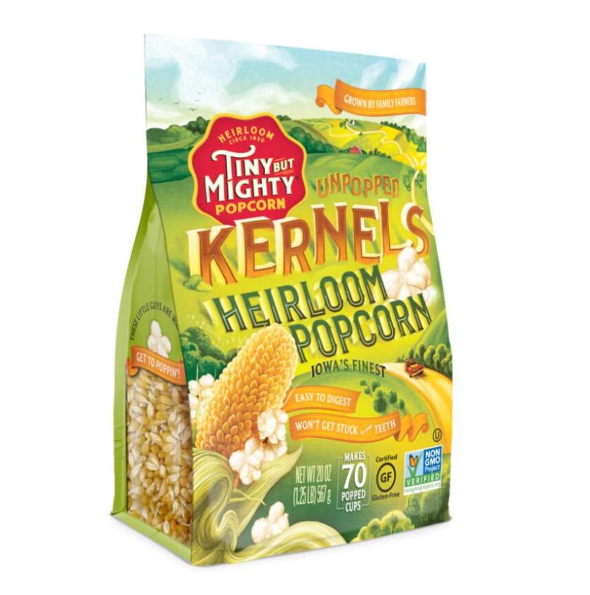 Tiny Mighty 袋装爆米花包装设计,非常艺术的田园风格玉米与农庄插画设计