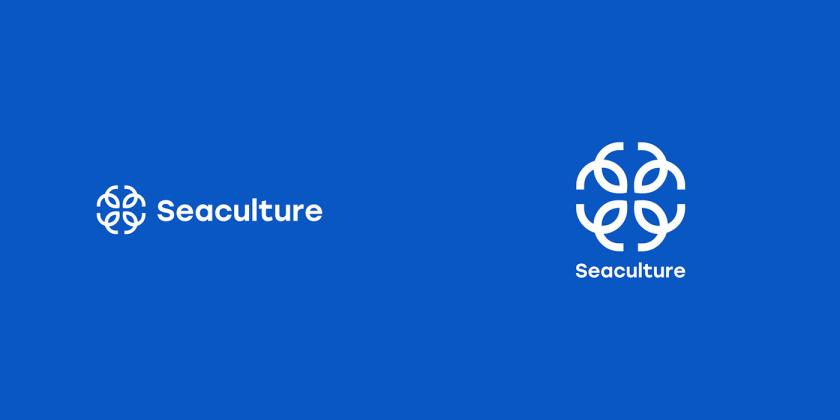 Seaculture 海水养殖海鲜品牌logo与vi识别设计,四个线条鱼组合