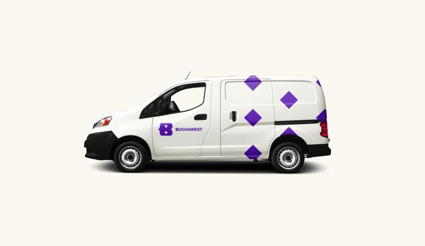 Bucharest布加勒斯特城市品牌vi视觉形象设计logo设计,单色几何风格