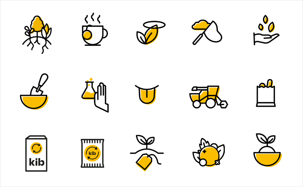 Kib天然保健花草茶茶叶品牌设计-图标设计