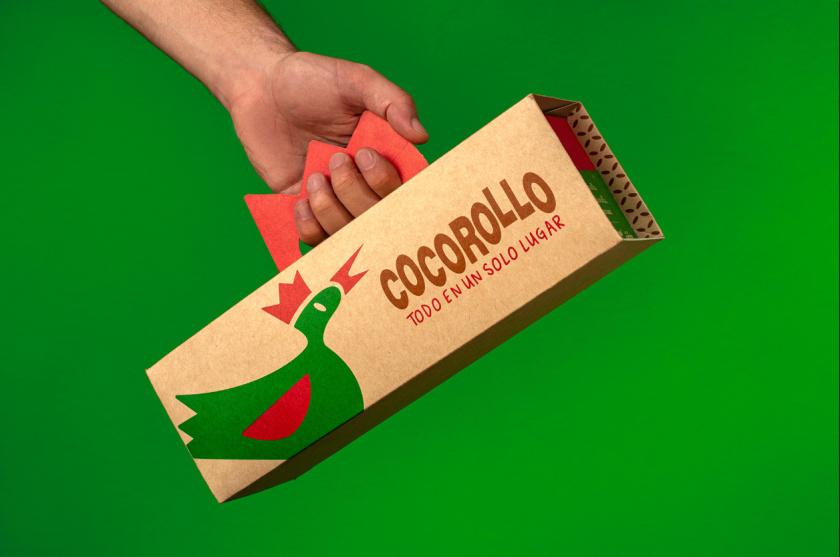 Cocorollo 鸡蛋糕糕点包装设计,一只可爱的鸡插画