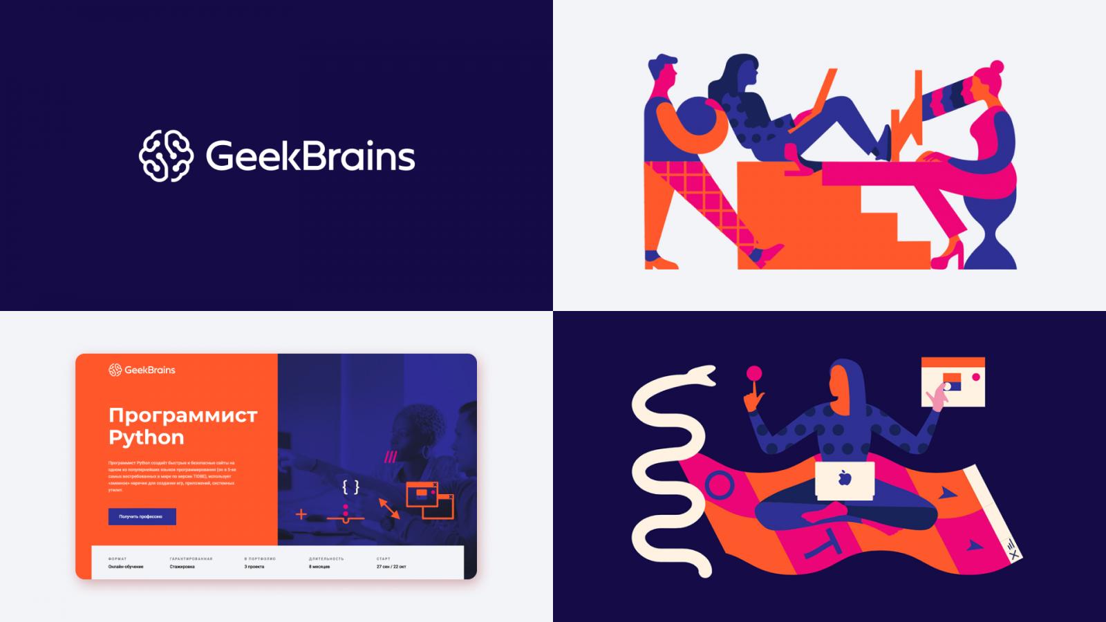 """Sage智者""品牌原型视觉形象设计:GeekBrains-教育性IT门户品牌logo-vi视觉设计"