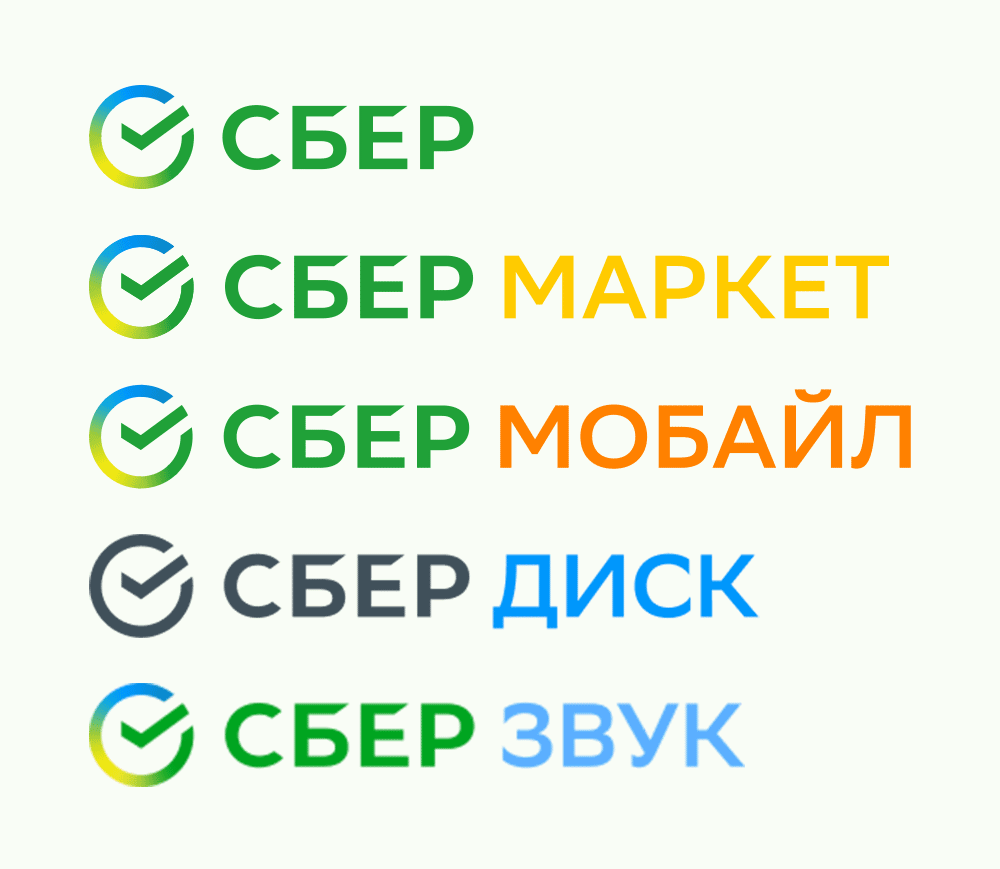 Сбер 金融银行品牌重塑-品牌架构-子品牌名称及配色