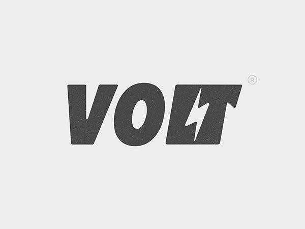 4.伏特负空间排版标志logo设计