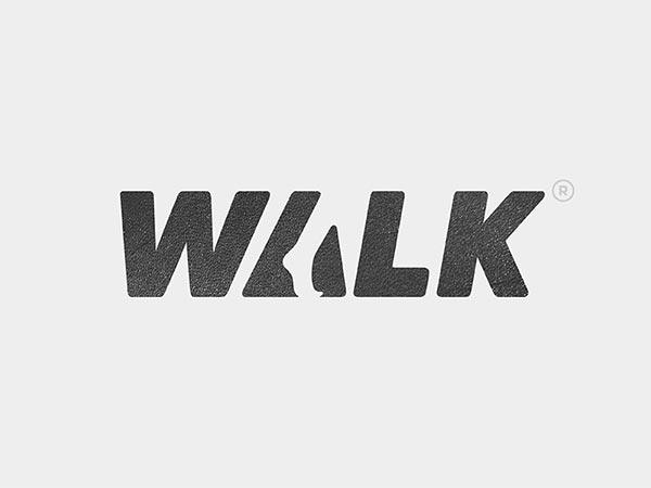 9.walk负空间标志logo设计