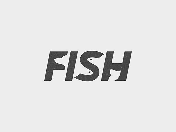 13.鱼类负空间标志logo设计