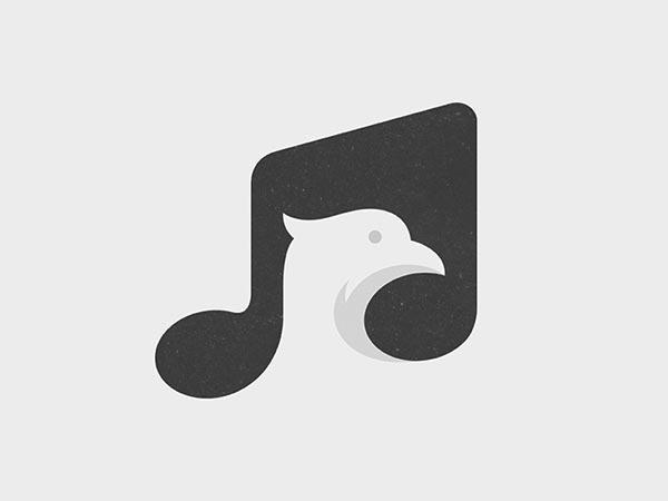 14.鸟歌负空间标志logo设计