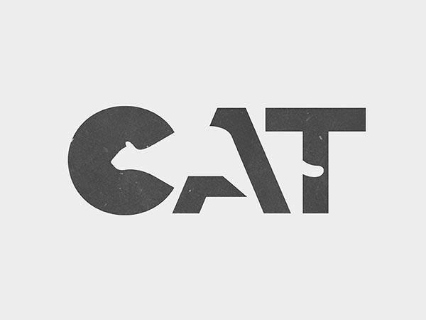 11. Cat负空间创意标志logo设计