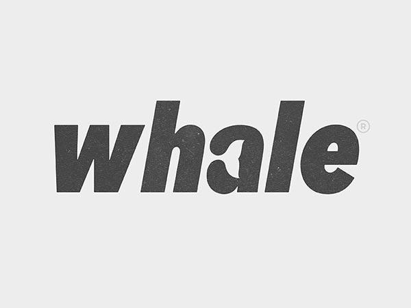 10.鲸鱼动物负空间标志logo设计