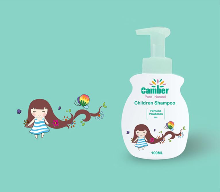 康贝小女孩系列儿童洗发露护肤品包装设计