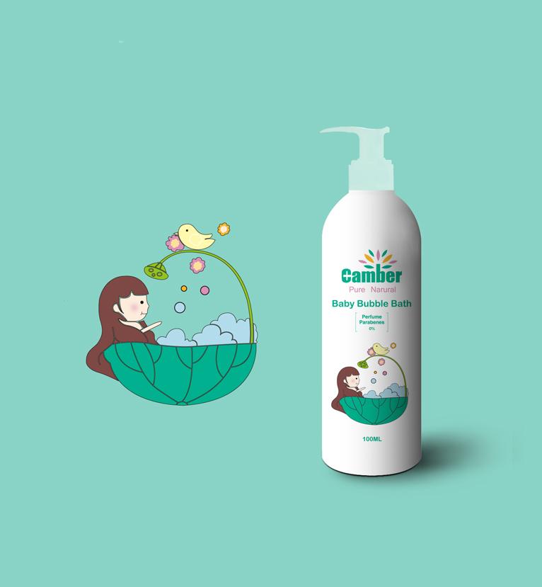 康贝小女孩系列儿童沐浴露护肤品包装设计