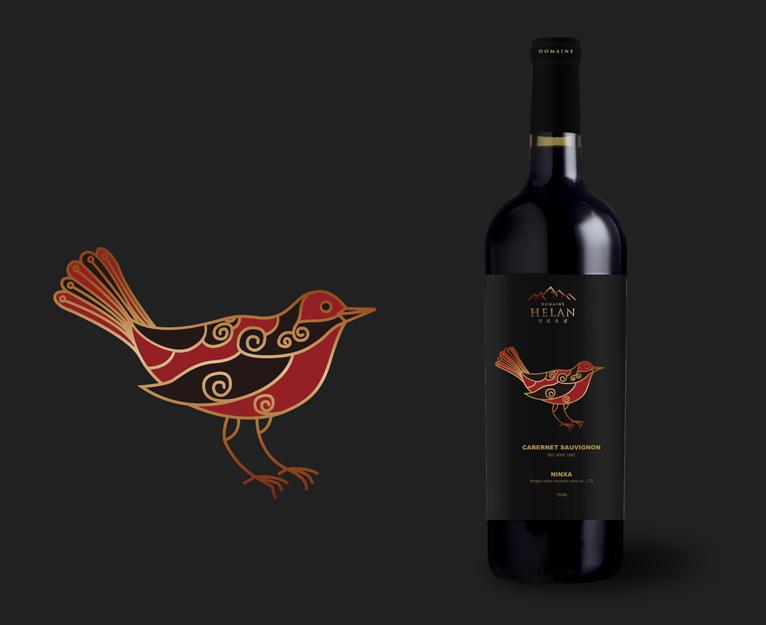 贺兰之麓岩画系列贺兰山葡萄酒包装设计酒标设计-上海红酒包装设计公司