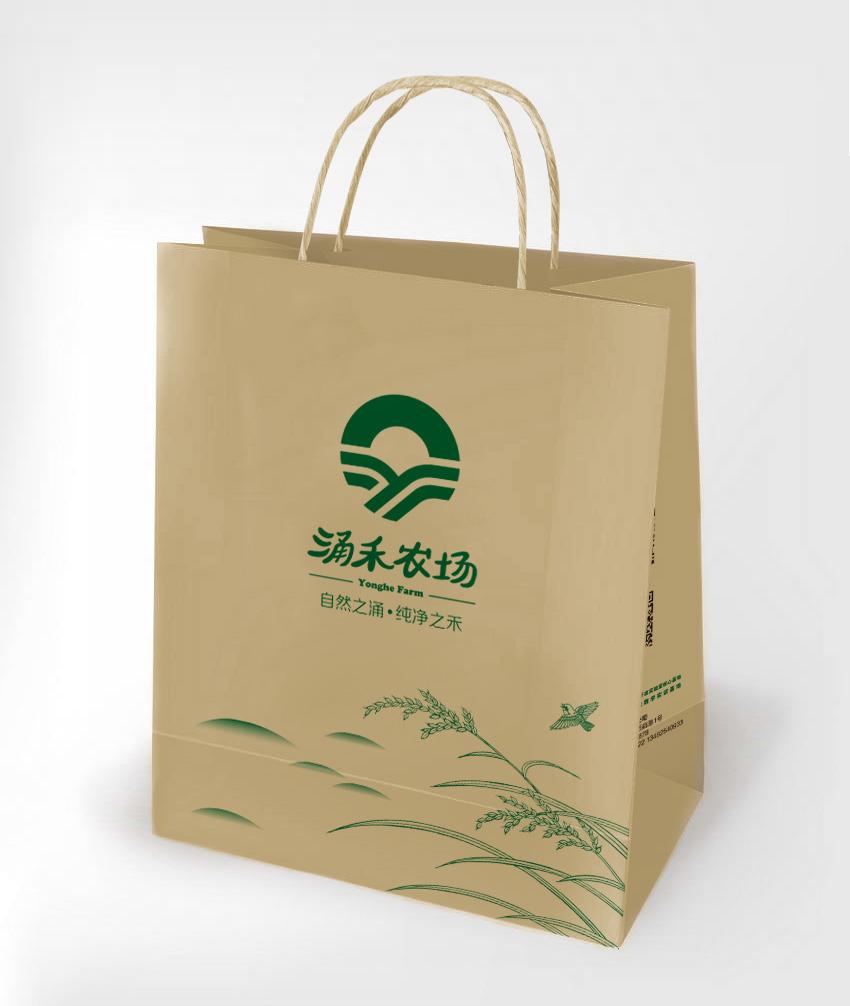 涌禾农场农业品牌商标LOGO设计品牌VI视觉形象设计-袋子设计